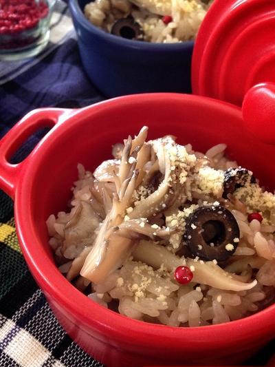オリーブオイルと粉チーズで頂く♡洋風舞茸炊き込みご飯♪