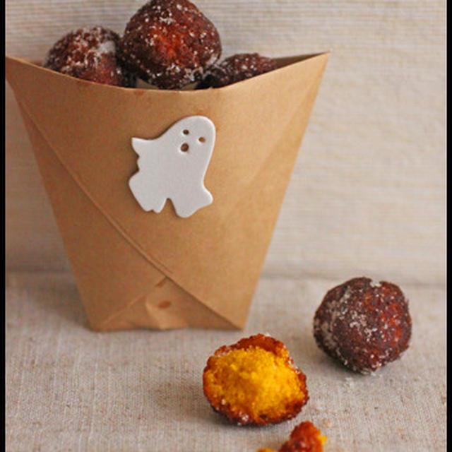 ハロウィンに♪ホットケーキミックスで簡単!カボチャのドーナツ