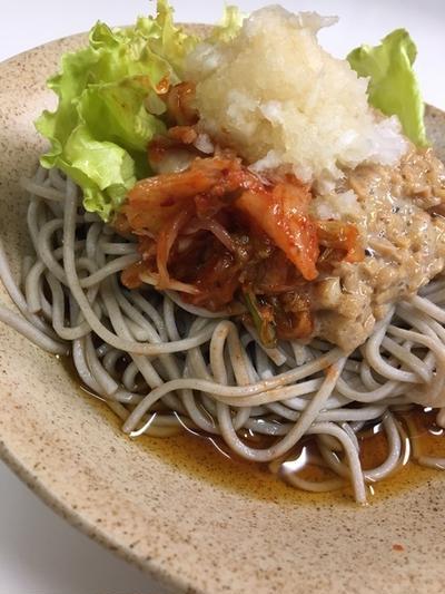 私キムチ納豆おろし蕎麦
