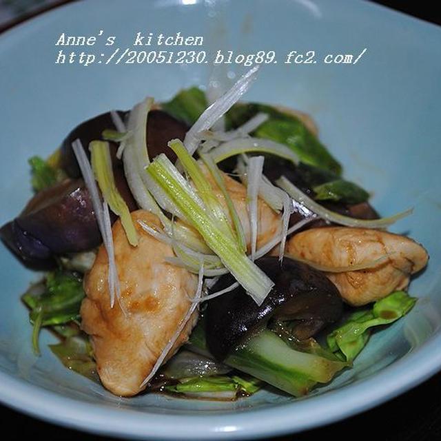 ふんわりささみと茄子とキャベツの味噌炒め☆