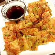お豆腐とじゃがいもで♪ネギたっぷりなもちもちチヂミ♡ と 台風なのに。