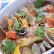 あさりと白身魚のサフラン香るアクアパッツァ