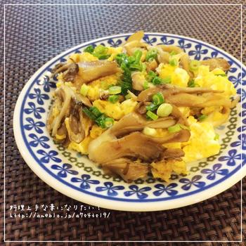 【時短・副菜】舞茸と卵のフワフワ炒め