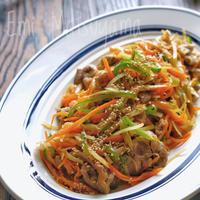 豚こまと千切り野菜のスタミナオイマヨ炒め