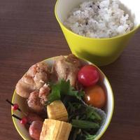 二十五穀米に合う花椒塩唐揚げのお弁当。