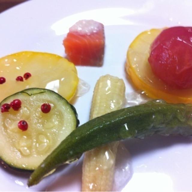 夏野菜のプルプル和風ジュレ煮浸し
