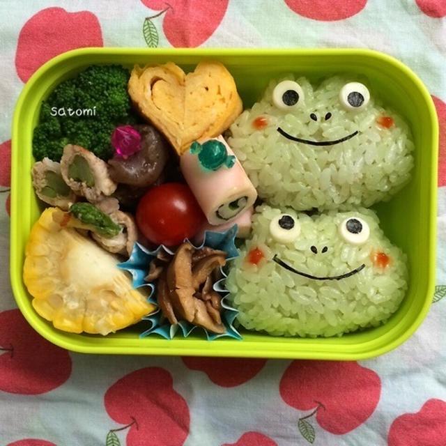 2015/07/01 幼稚園弁当☆次女ちん喜ぶ!カエルちゃん`S キャラ弁( ´艸`)