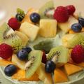 野菜スイーツ「マンゴーとほうれん草クリームのシフォンケーキ」