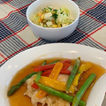 昨日のレッスンは夕食作り・・・メカジキのカラフル甘酢あんかけなど・今朝の傘雲富士山