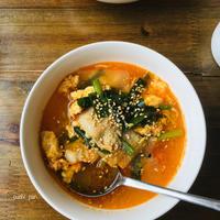 豚バラで簡単◯節約◯ピリ辛でご飯が進むジャンスープ。