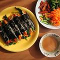簡単!ミニ海苔巻きコマキンパの作り方。からしの醤油だれ付きの麻薬キンパ☆ by カライチさん