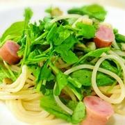 【パスタ】ソーセージとルッコラのスパゲティー