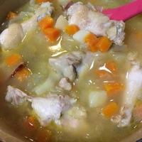 手羽元と常備野菜のスープ+麻婆豆腐