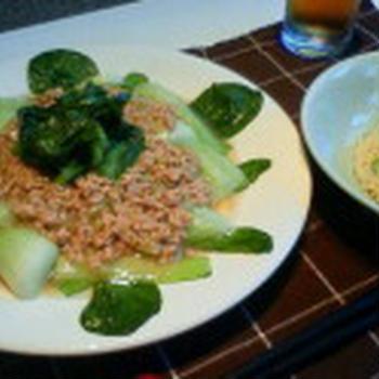 鷄しお焼き飯、青梗菜のそぼろあんかけ添え