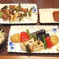 野菜と薄切り豚肉の串焼きディナー(レシピ付)