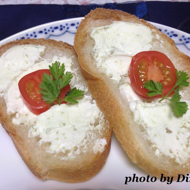 わさびチーズのクロスティーニ