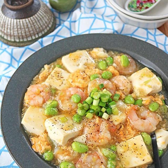 簡単ヘルシー!海老と豆腐のとろとろ卵あんかけ♪