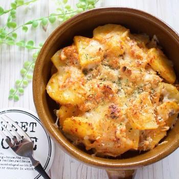 今すぐ作れる*混ぜて焼くだけポテマヨキムチのツナチーズ焼き