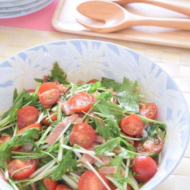 いつもの食卓に1皿♪水菜とミニトマトとベーコンの和風サラダ