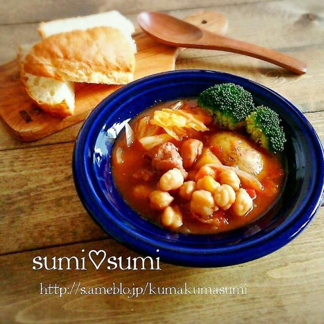 簡単ほっこり♥ひよこ豆とチキンのトマトスープ