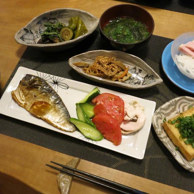 塩鯖&いっろいろ:和な晩ご飯 と ブルーベリーの収穫♪