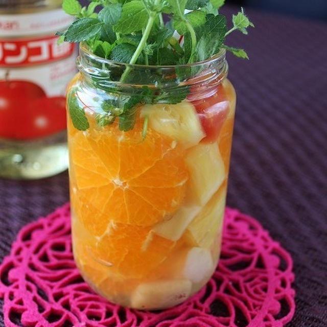 リンゴ酢でトロピカルフルーツのフルーツビネガーウォーター♪