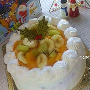 クリスマスにも♪フルーツ in デコーレーションケーキ