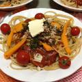 きのことツナのトマトソースパスタとそのリサイクル時短料理