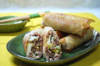豚ひき肉と白菜の醤油春巻き