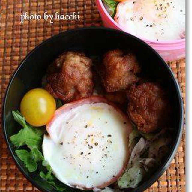 豚肉のころころ唐揚げ&ハムカップ卵
