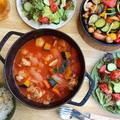 簡単キャンプ飯☆チキンのトマト煮込み