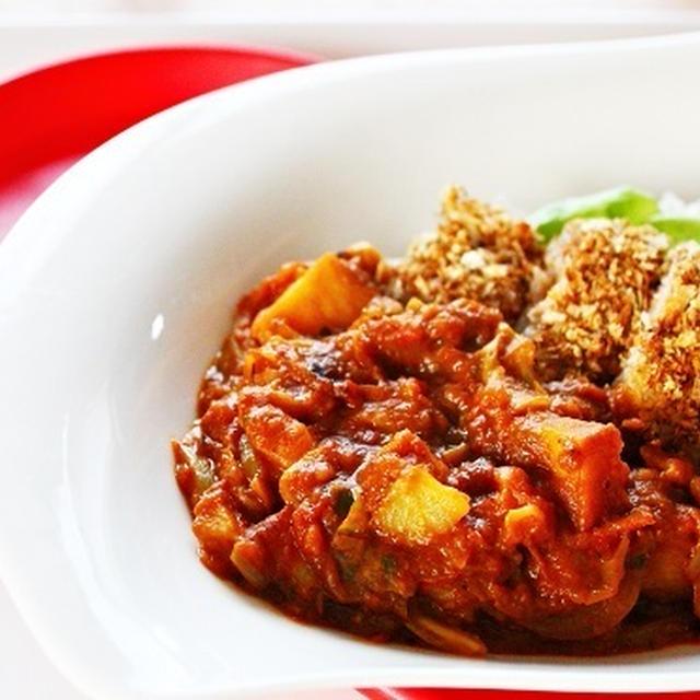 【姫ごはん☆美脚レシピ】揚げないハーブチーズカツと野菜たっぷりトマトカレー☆