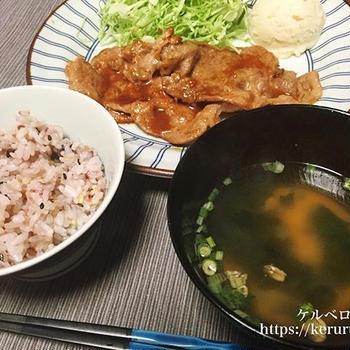 コストコの豚肩ロースで作る生姜焼き定食
