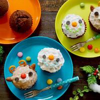 子どもと作れる♪トナカイとスノーマンのカップケーキ