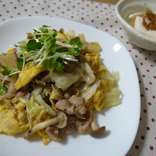 豚肉と野菜の卵炒め