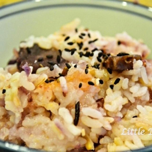 紫いもご飯  雑穀米とともに