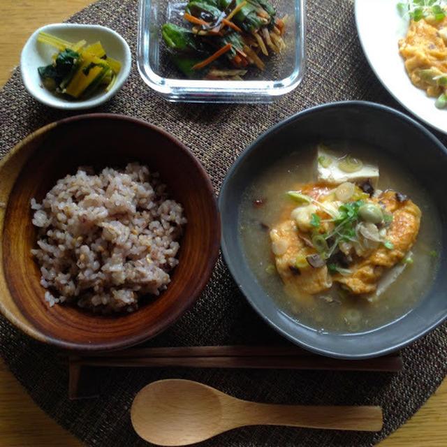 カニ玉焼きお豆腐スープ