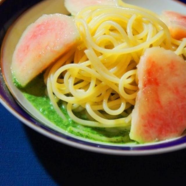 桃のクレソンソースの冷たいスパゲッティーニ、夏野菜のグリル、