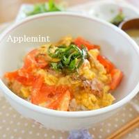 ◆スピードレシピ◆とろとろ卵とトマトとやきとり(缶)のイタリアンな親子丼