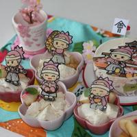 鶴ヶ城&八重たんいっぱいキャラチョコ☆桃のレアチーズケーキ
