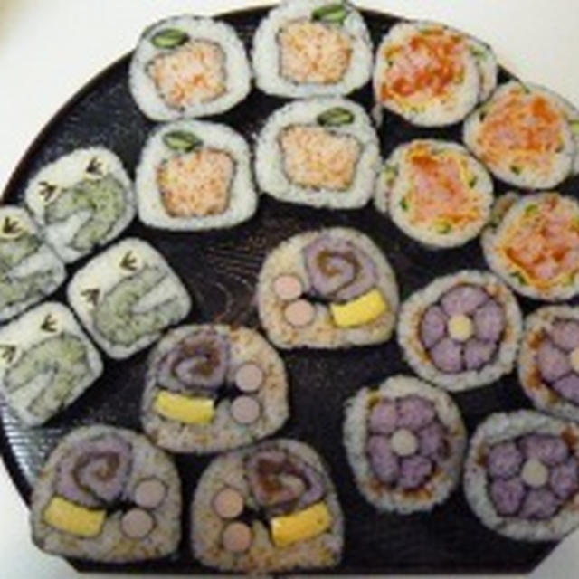 飾り巻き寿司 カエル バラ 梅の花 みかん カタツムリ 飾り巻き寿司レッスン6月