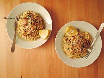 まかない的、納豆スパゲッティ。