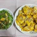 チキンピカタ♪ 水菜とたまごとじゃこのサラダ♪