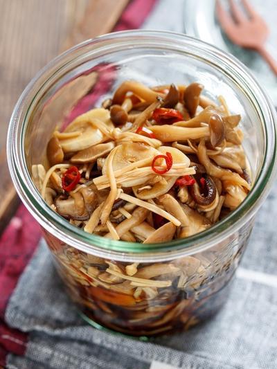 秋の作り置き「きのこのにんにく醤油漬け」でご飯が蒸発するようになくなった【#作り置き #おつまみ #ご飯のお供 #やみつき #レンジ】