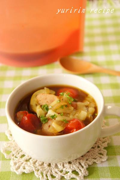 トマトとナスのカレースープ