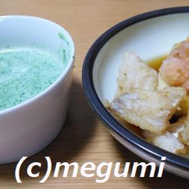 鱈と豆腐の落とし揚げ&ほうれん草の牛乳スープ