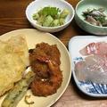 筍の天ぷらと木の芽和え。肉ぶっかけうどん