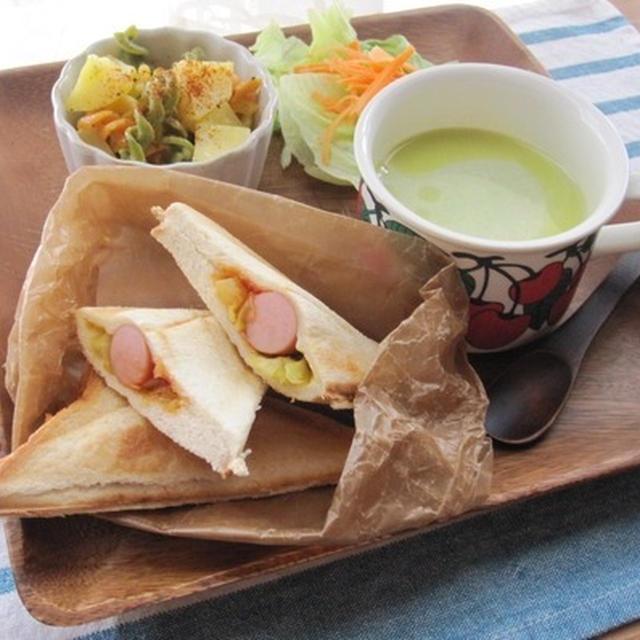 カレーキャベツとウィンナーのホットサンド&枝豆ポタージュ