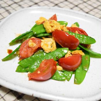 【ぐんまクッキングアンバサダー】トマトときぬさやのふわふわ卵炒め。おつまみにも朝食にもなる簡単レシピ。