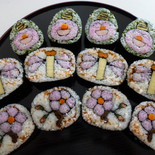 飾り巻き寿司 節分の鬼 リクエストの梅の木ととんぼ